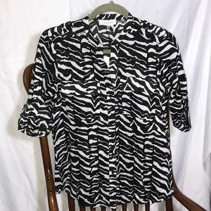 Calvin Klein Animal Print Shirt Button up Sleeves
